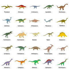 Dinosaur types signed name icons set. Flat illustration of 25 dinosaur types signed name vector icons isolated on white