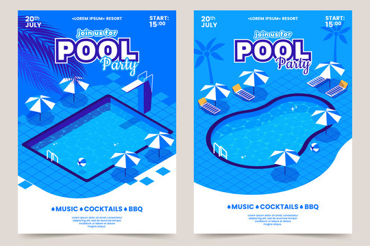 Summer pool party invitation poster. Isometric water swimming pool with sun beds, umbrellas and diving tower. Recreational resort. Vector illustration for summer event. Eps 10