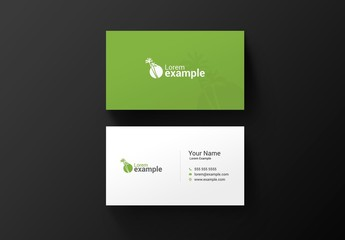Green Business Card with Palm Tree Illustration