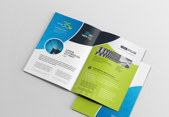 Green and Blue Brochure Layout