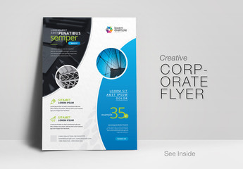Flyer Layout with Curved Accent Graphics
