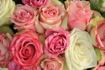 Mixed pink bridal roses