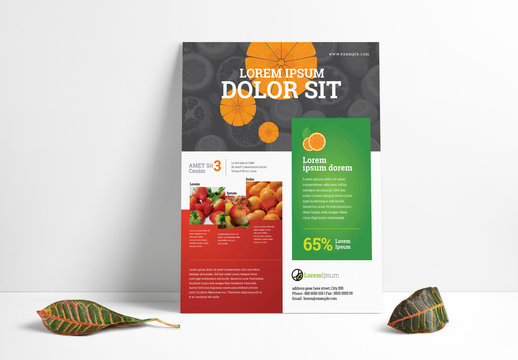 Flyer Layout with Fruit Slice Graphics