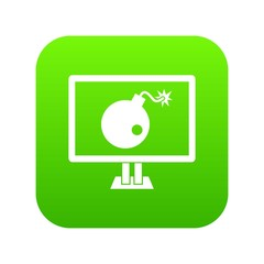 Bomb on computer monitor icon digital green