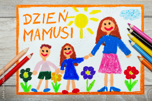 Colorful drawing - Polish Mother's Day card with words: Mother's day