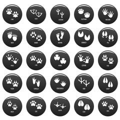 Animal footprint icons set. Simple illustration of 25 animal footprint vector icons black isolated