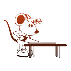 Worker mouse cutting wood with saw vector illustration graphic design