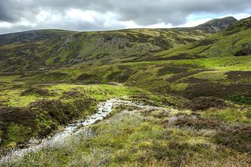 Scottish landscape. Cairngorm Mountains in Royal Deeside. Braemar, Aberdeenshire, Scotland, United Kingdom.