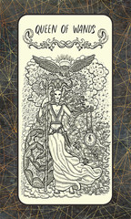 Queen of wands. Minor Arcana tarot card. The Magic Gate deck. Fantasy engraved illustration with occult mysterious symbols and esoteric concept, vintage background