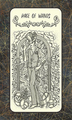 Page of wands. Minor Arcana tarot card. The Magic Gate deck. Fantasy engraved illustration with occult mysterious symbols and esoteric concept, vintage background