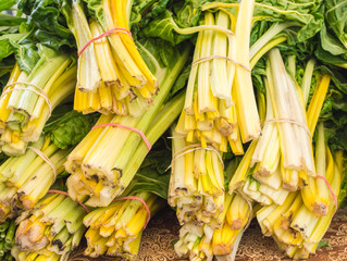close up of bundled green and yellow celery stalks at a farmer's market