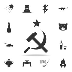 Sickle and hammer with a star icon. Detailed set of Russian culture icons. Premium graphic design. One of the collection icons for websites, web design, mobile app