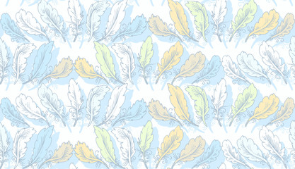 Seamless woven pattern. Design print for textile, fabric, wallpaper, background. Can be used for printing on paper, packaging , in textiles. Pattern with plumage.