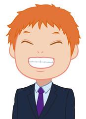 満面の笑みのちびキャラ 男性 タイプB