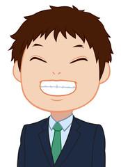 満面の笑みのちびキャラ 男性 タイプC