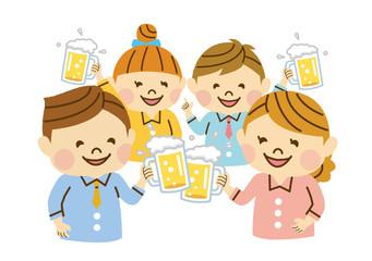 ビールで乾杯する会社員