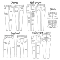 Vector template for Women's Destroyed Jeans