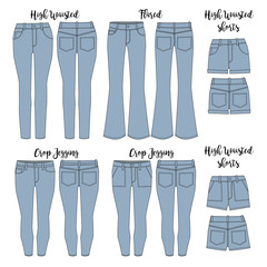 Vector template of Women's jeans