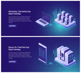 Web hosting, data backup copy, recover file concept, cloud data storage, digital technology, blockchain, server room, smartphone laptop isometric vector illustration on ultraviolet background