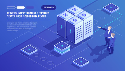 Network infrastructure, server room topology, cloud data center, two businessman, data analysis and statistics, server room rack isometric vector technology