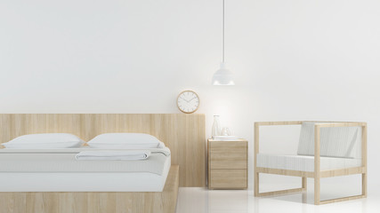 Bedroom Interior Japanese minimal style -3D rendering decoration white background