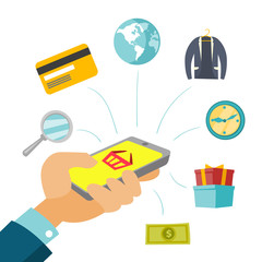 A white man doing online shopping with a smartphone. Concept of ecommerce, mobility, internet shop and virtual payment. Vector cartoon illustration isolated on white background.