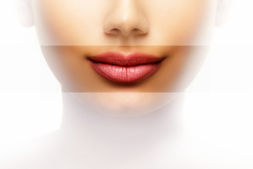 Lips beauty care concept of woman with perfect mouth