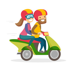 A white man and a woman in helmets driving a motorcycle. A scooter as a mean of transport. City transportation concept. Vector cartoon illustration isolated on white background.