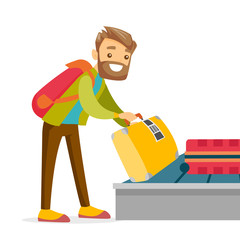 A white man taking his case from a luggage carousel in baggage claim of the airport. Baggage allowance, travel and transportation concept. Vector cartoon illustration isolated on white background.