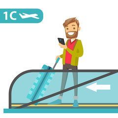 A white man traveller standing on airport escalator with a phone and suitcase in hands. Flight passenger uses a smartphone on flat escalator. Vector cartoon illustration isolated on white background.