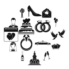 Wedding icons set, simple style