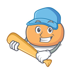 Playing baseball mochi character cartoon style