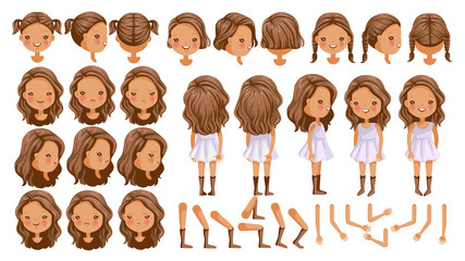 Little girls character creation set. Icons with different types of faces and hair style, emotions of Smile, laugh, sad, angry, front, rear, side view of female person. Moving arms, legs. Vector
