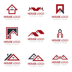 Real estate vector logo icon illustration set