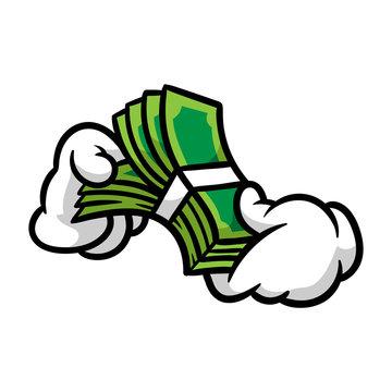 Cartoon Hands Counting Money