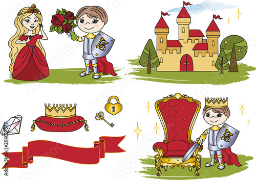 Fairy Clipart Little King Castle Color Vector Illustration Cartoon