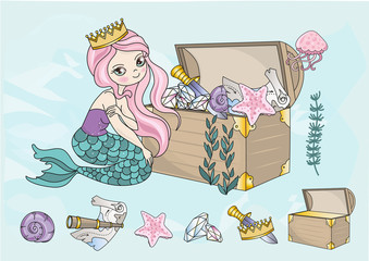 Fairy Clipart MERMAID TREASURES Color Vector Illustration Cartoon Magic Beautiful Picture Paint Drawing Set Scrapbooking Baby Book Glitter Greeting Print Card Album Digital Paper Seamless Pattern Birt