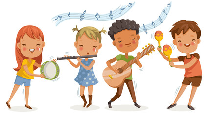 children music. playing music. boys and girls are happy with the melodies.together musical instruments, guitar, flute. group of elementary school  in a music class. friendship and activities.