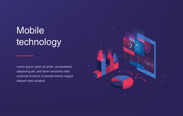 Isometric mobile phone. Smart and simple web interface with different apps and icons. 3d vector. Web banner with laptop and currency. Isometric gradient style. Home page concept. UI design mockup.