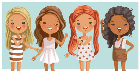 Cute little girls long hair. Beautiful and trendy. Hairstyles are different.  Of color and style Blonde,red,brown,black,straight hair,curly hair. Girls in four dresses. Gently standing teenage stance.