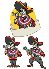 cartoon of skull mexican set