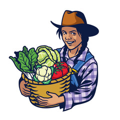 happy woman farmer hold a bucket full of vegetables crop