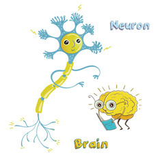 Illustration of neuron and brain