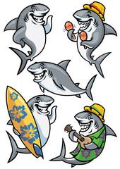 shark cartoon character set
