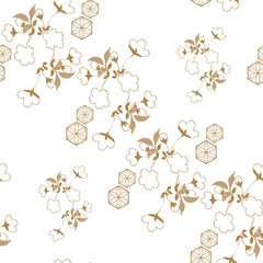 Gold Japanese pattern vector. Cherry blossom flower, wave and cloud elements.