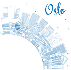 Outline Oslo Norway City Skyline with Blue Buildings and Copy Space.