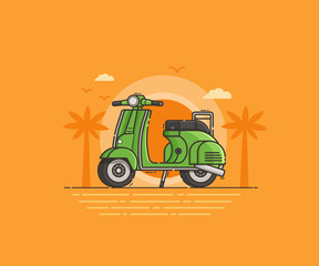 Green scooter on tropical beach seashore. Classic motor bike on sea side background. Summer holidays or sea vacation concept illustration for travel agency UI application.