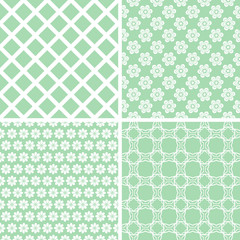 Retro different vector seamless patterns.