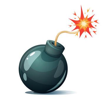 Cartoon bomb, fuse, wick spark icon Vector eps 10