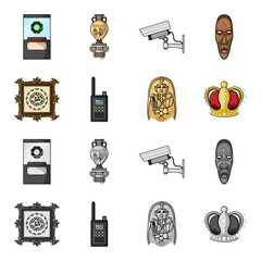 Picture, sarcophagus of the pharaoh, walkie-talkie, crown. Museum set collection icons in cartoon,monochrome style vector symbol stock illustration web.